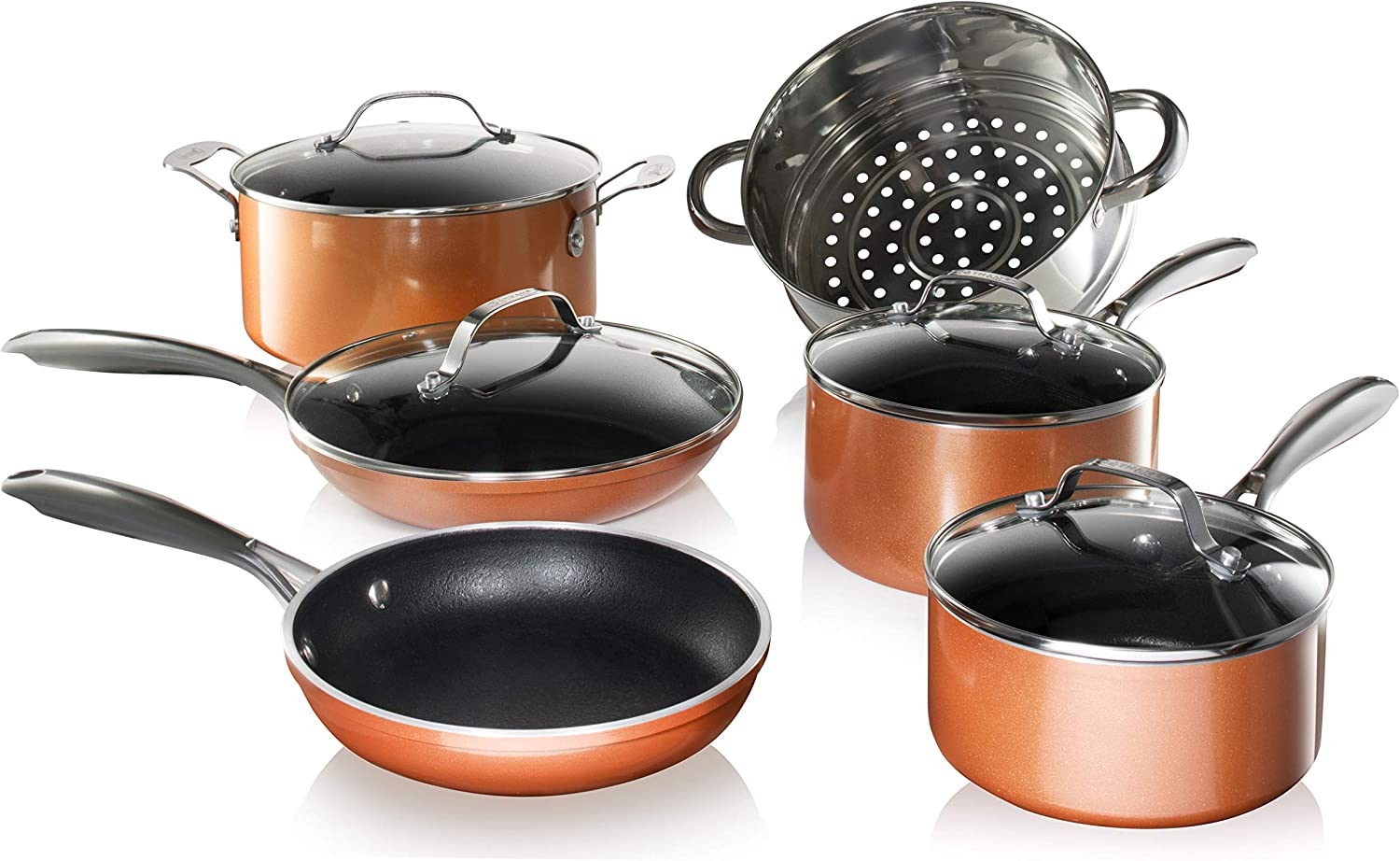 Gotham Steel Nonstick Pots and Pans 10 Piece Copper Cast Cookware Set with Ultra Nonstick PFOA FREE Coating–New for 2020, Includes Frying Pans, Saucepans, Stock Pots, Steamer Insert, Dishwasher Safe