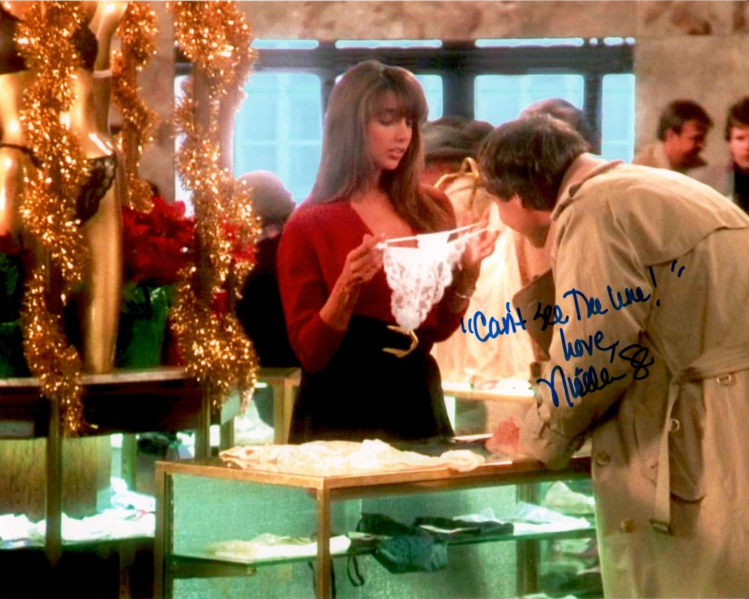 NICOLETTE SCORSESE Autographed/Signed Chevy Chase/Christmas Vacation 8x10 Photo with Special Inscription 'Can't See the Line' NICOLETTE SCORSESE Autographed/Signed Chevy Chase/Christmas Vacation 8x10 Photo with Special Inscription Can' t See the Line