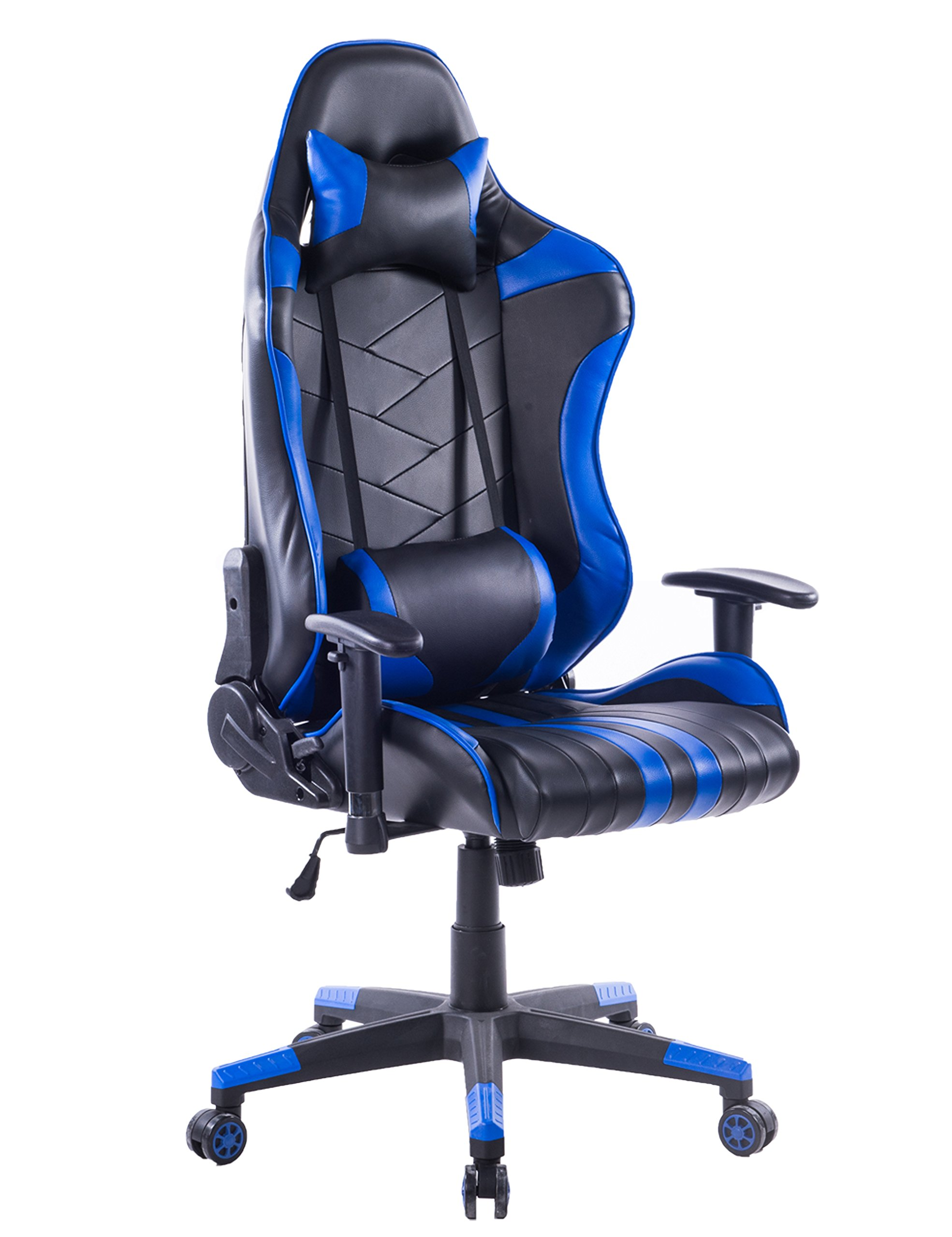 Killbee Large Size PVC Ergonomic Reclining Racing Chair Executive Office Chair with Headrest and Lumbar Support (Blue)