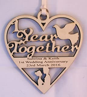 personalised wood engraved 1 year paper wedding anniversary plaque engraved with the wording of