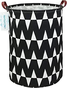 LANGYASHAN Storage Bin,Canvas Fabric Collapsible Organizer Basket for Laundry Hamper,Toy Bins,Gift Baskets, Bedroom, Clothes,Baby Nursery (Black M)