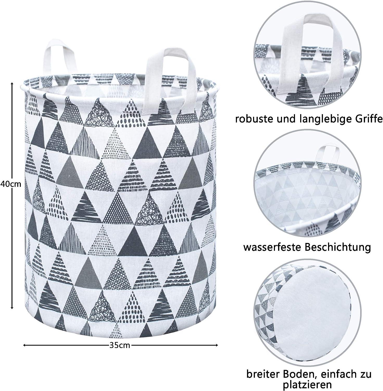 DIJU Aufbewahrungskorb W/äschekorb Leinen Stoff Faltbar Wasserabweisend Vielseitig verwendbar.