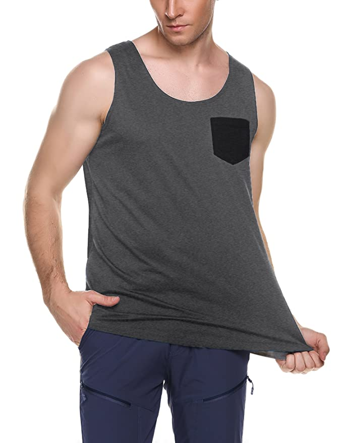 5dfff2b25eb58 Amazon.com  COOFANDY Men s Jersey Tank Top Casual Patchwork Sleeveless  Shirt with Pocket  Clothing