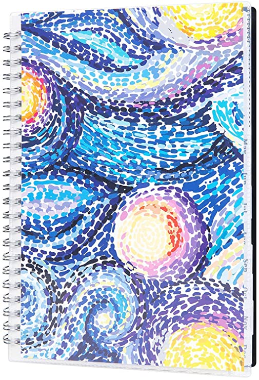 "2019 Planner - Planner 2019, Weekly & Monthly Planner, 12 Monthly Tabs, Twin Wire Binding, Clear Cover Pockets, 5"" x 8"""