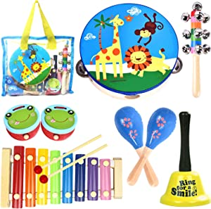 oathx Kids Musical Percussion Instruments Set Toddler Music Toys for Babies Ages 1 2 3 4 Boys Girls Wooden Instrument Kit Preschool Educational Gift Children Rhythm Tambourine Xylophone