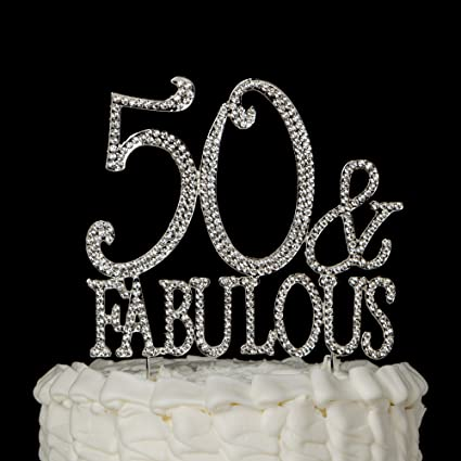 Amazoncom 50 Fabulous Cake Topper Silver for 50th Birthday Party