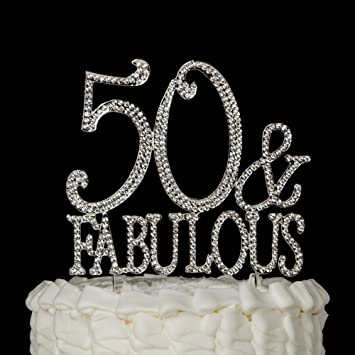 Amazoncom 50 Fabulous Cake Topper Silver for 50th Birthday
