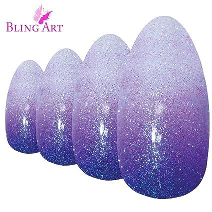 Uñas Postizas Bling Art Púrpura Gel Ombre Stiletto 24 Almendra Largo Falsas puntas acrílicas con pegamento