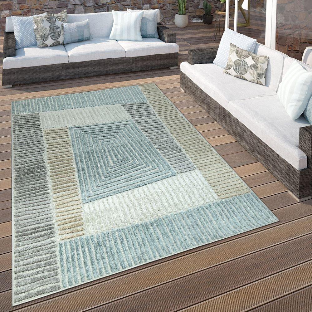 Paco Home In- & Outdoor Terrassen Teppich Geometrisches Design Pastell Braun Beige Grau, Grösse 200x290 cm