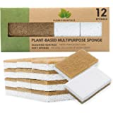 Natural Sponge - 12 Pack - Eco Friendly Scrub Sponges for Kitchen - Non Scratch Odor Free Biodegradable Plant Based Scrubber