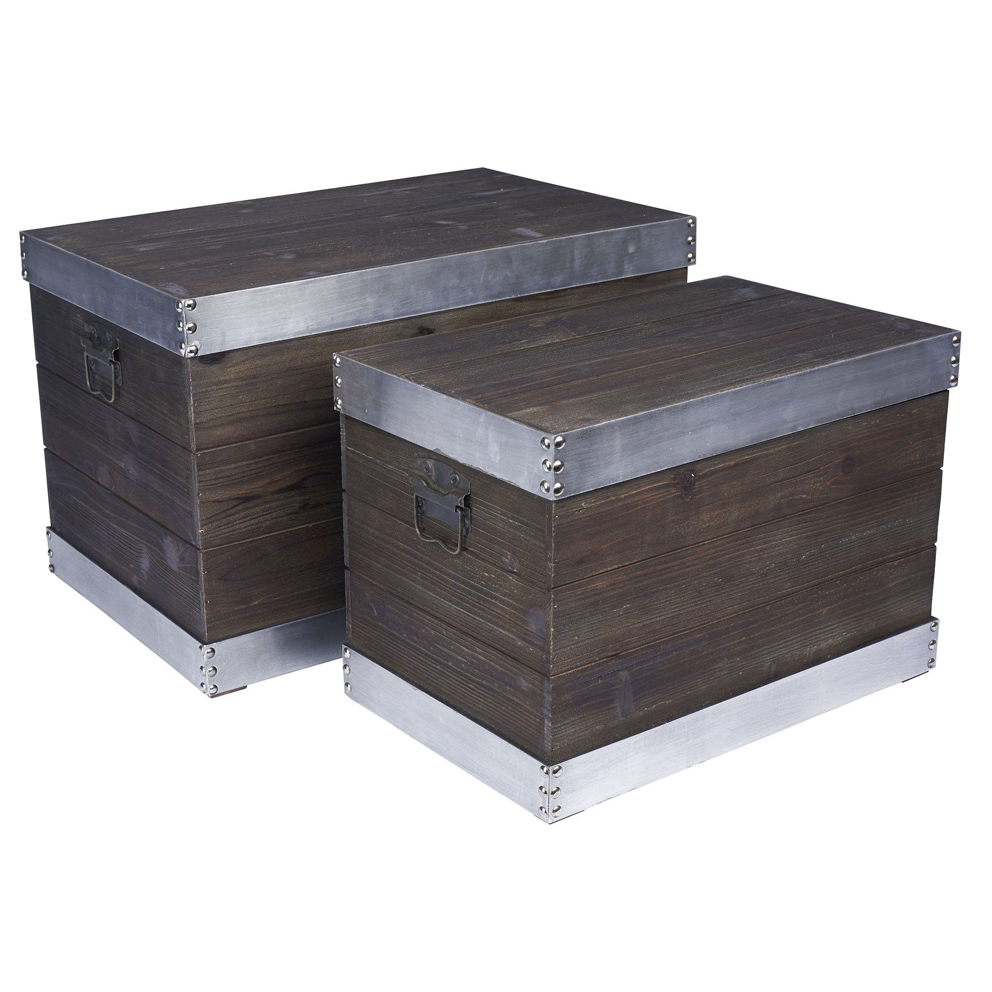 Household Essentials 2 Piece Wooden Storage Trunk with Silver Trim, Large/Small