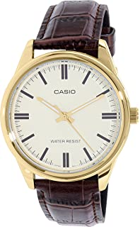 Casio MTP-V005GL-9A Mens Gold Tone Brown Leather Watch Gold Dial
