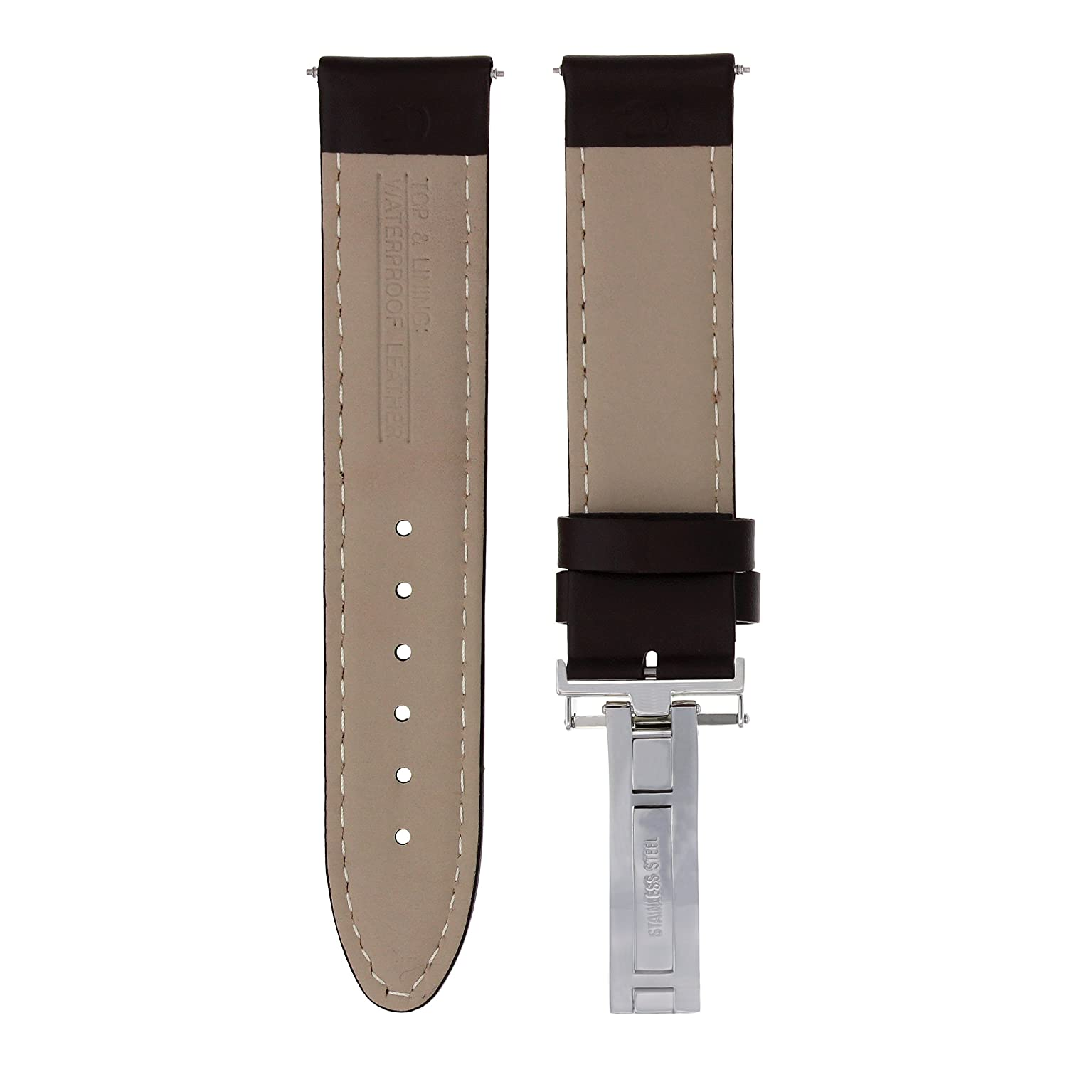 ffbc43eef 18MM Smooth Calf Leather Watch Band Strap Deployment Clasp for IWC Dark  Brown #8 | Amazon.com
