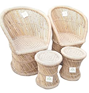 Ecowoodies Hebe Eco Friendly Handicraft Cane / Wooden Breakfast Kitchen Pub High Chair Garage Game Living Room Home Kitchen Counter Indoor/Outdoor Balcony Terrace For Garden Chair Sets( 2 Chairs + 2 Stools)