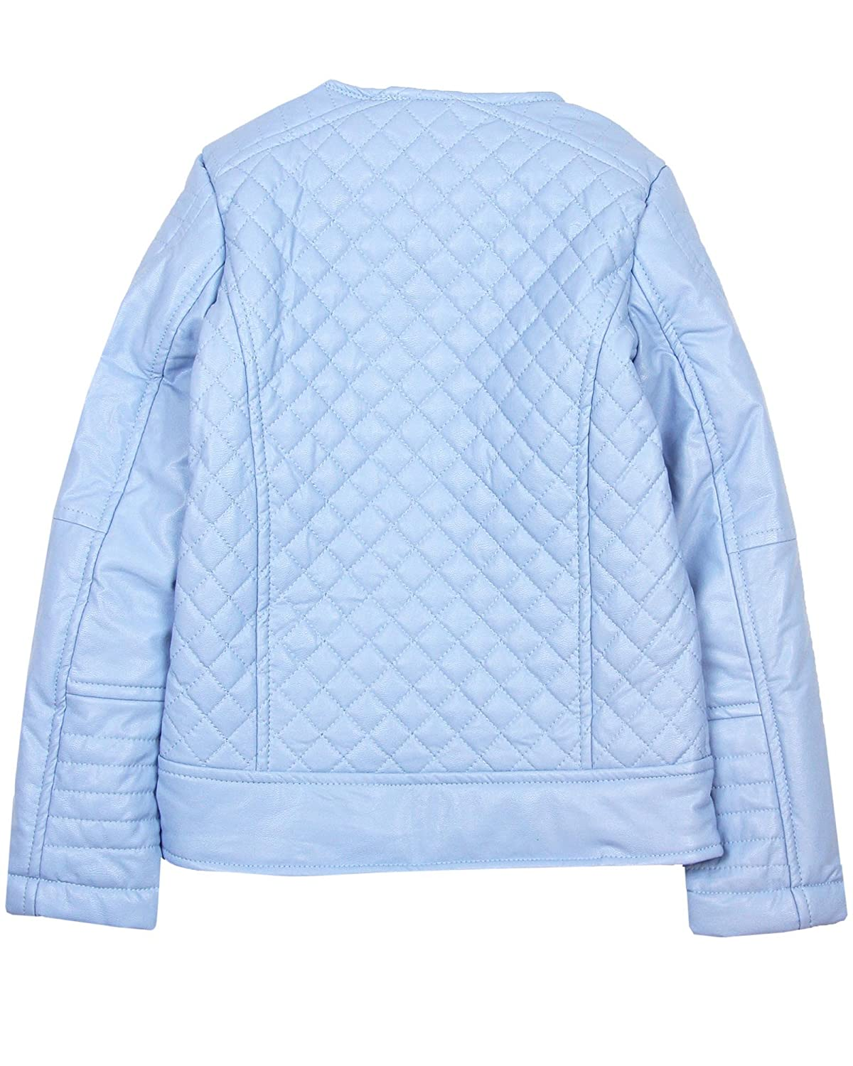 Sizes 4-14 Le Chic Girls Quilted Pleather Jacket in Blue