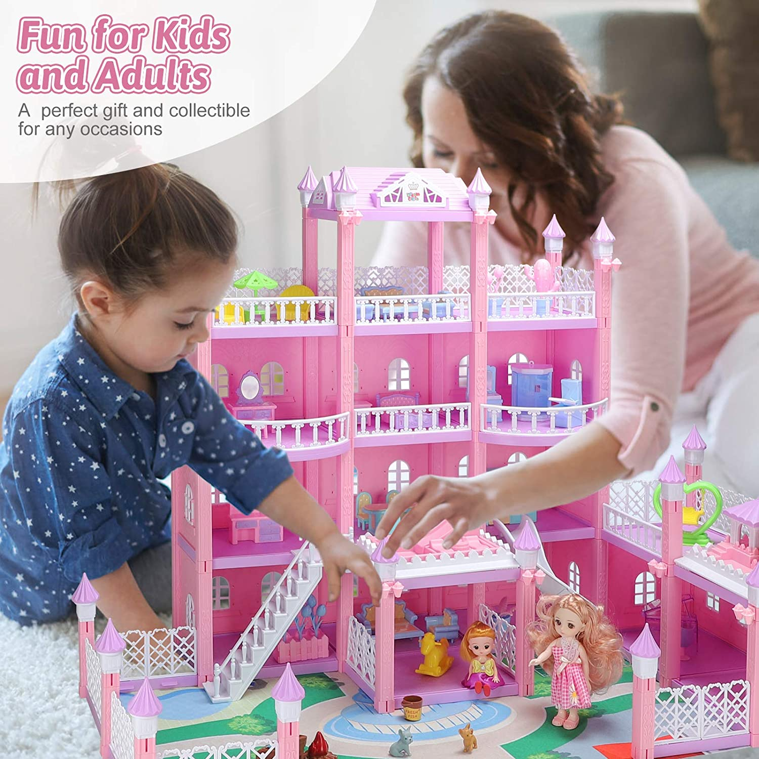 Pink Large 4 Storey DIY Building Toy Set Deluxe Villa Play House Pretend Toy Playset with Furniture Doll Accessories Doll House for Girls Open Sided Princess Castle Doll House for Ages 3+ Years