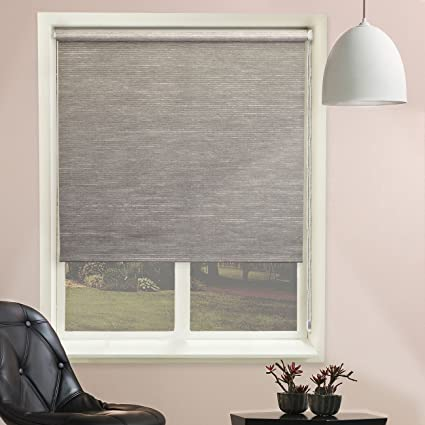 Chicology Continuous Loop Beaded Chain Roller Shades / Window Blind Curtain  Drape, Natural Woven,