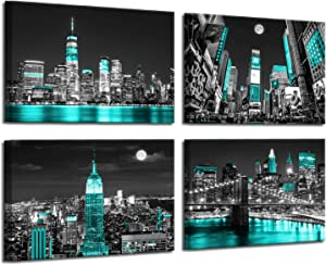 Canvas Art Wall Decor Teal New York City Background Modern Black and White Wall Art Paintings for Home Wall Turquoise Decor Black Art Paintings 4 Pieces Canvas Wall Art Bedroom Decor 12x16inchx4pcs
