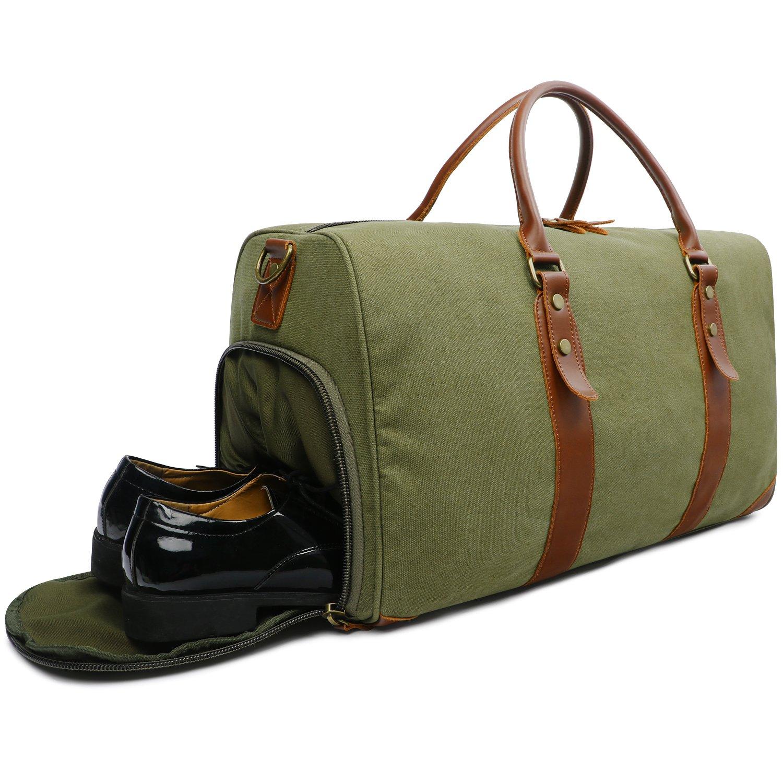 d91935f3cd15f Oflamn Bolsa de Viaje Cuero para Mujeres y Hombres - Bolsa Fin de Semana  con Una Bolsa ...