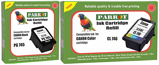 Parrot Ink Cartridge Refill for Canon Pixma PG 745 Black and CL 746 Color, Combo Inks, Toners   Cartridges