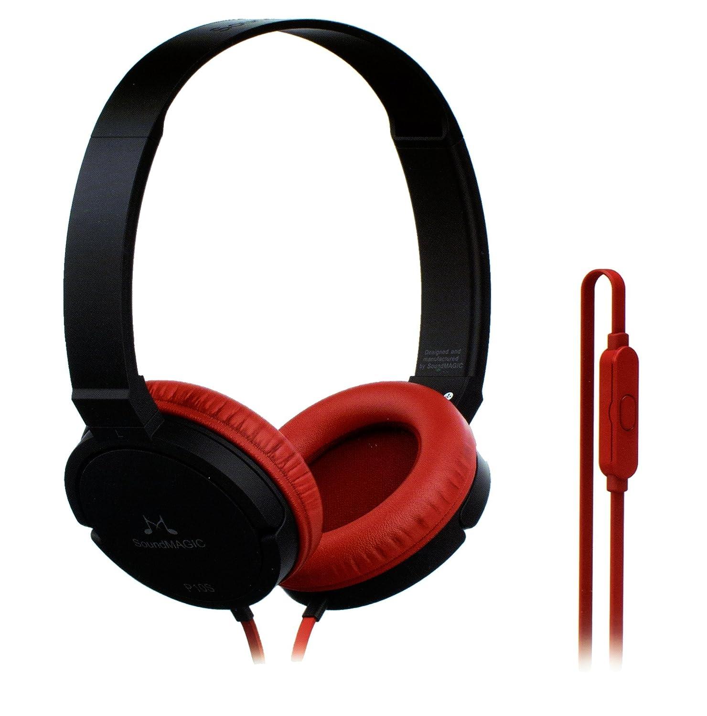 SoundMagic P10S Headphones with Mic (Black/Red)