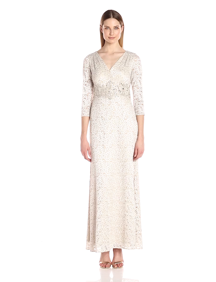 57cca7ed615f Alex Evenings Women's V-Neck Lace Gown with Beaded Waist Dress, Cream, ...