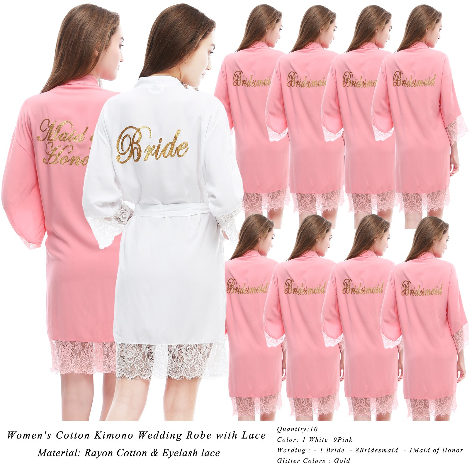 PROGULOVER Women's Set Of 10 Bridesmaid Robes For Wedding Cotton Kimono Bridal Party Getting Ready Robe With Blush Gold Glitter by PROGULOVER (Image #1)