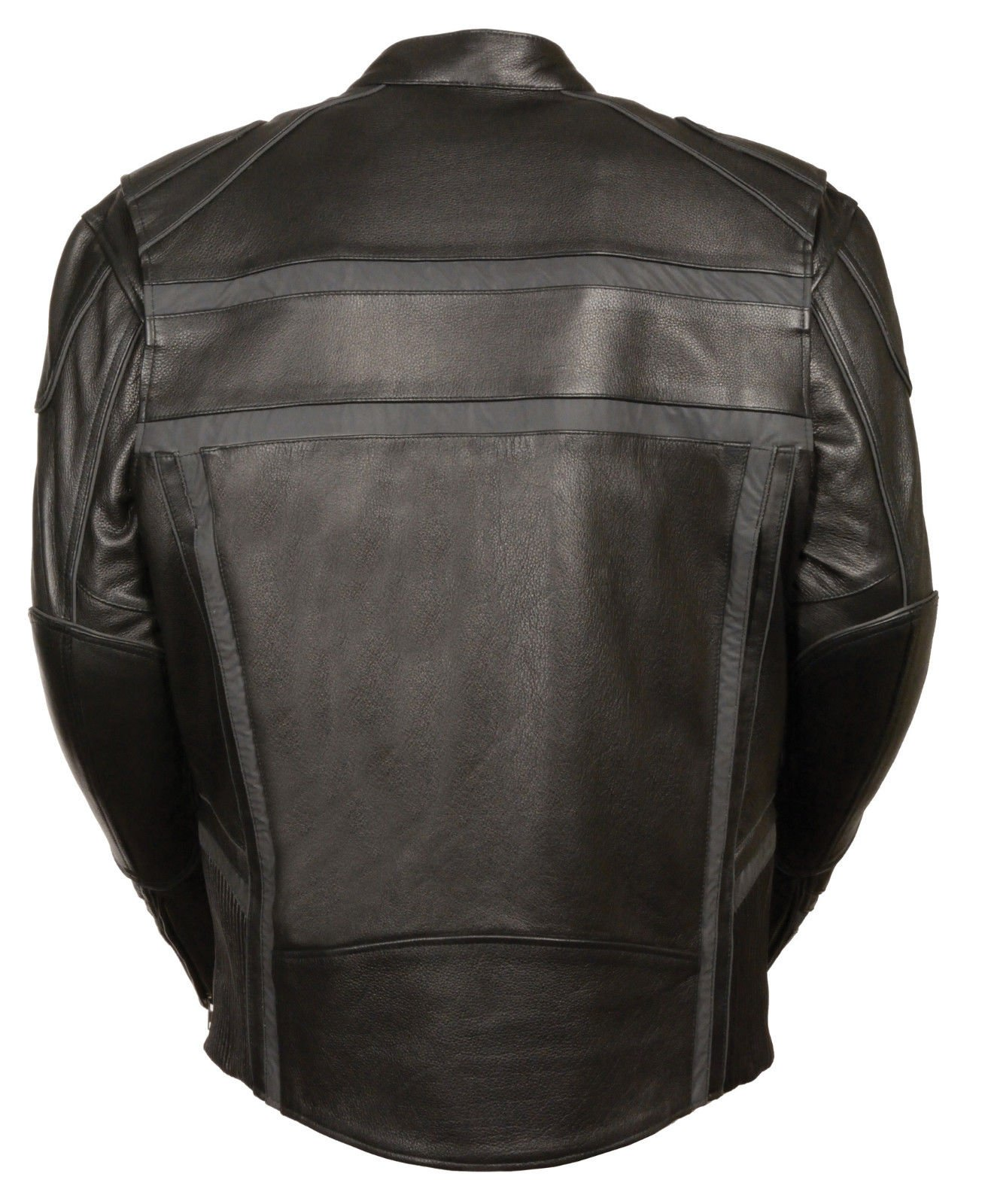 MEN'S MOTORCYCLE REFLECTIVE STRIPE SCOOTER COW LEATHER VENTS JACKET SIDE STRETCH (2XL Regular) by Milwaukee (Image #3)