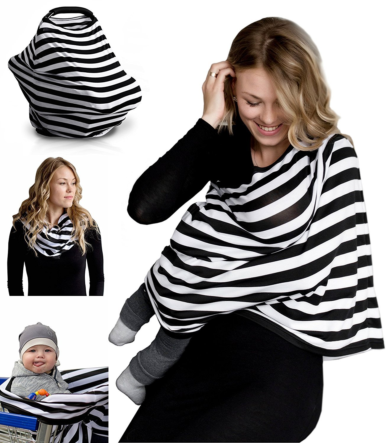 Nursing Breastfeeding Cover Scarf - Baby Car Seat Canopy, Shopping Cart, Stroller, Car seat Covers for Girls and Boys - Best Multi-Use Infinity Stretchy Shawl: Amazon.ca: Bébés