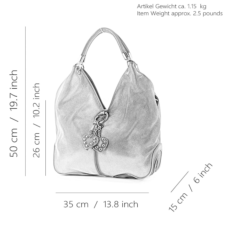 modamoda de – 330 – ital handväska Shopper axelväska läder Mörkgrå/grå