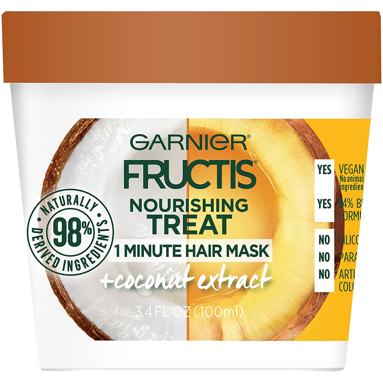 Garnier Fructis Nourishing Treat 1 Minute Hair Mask, 3.4 Fl Oz (Pack of 1) - Coconut