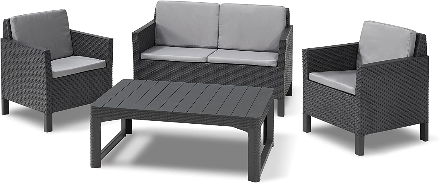 """""""Allibert by Keter"""" Chicago Garden Lounge Set with Lyon Table Graphite/Cool  Grey Set of 8 Including Cushions, Table Height-Adjustable, Plastic, Flat"""