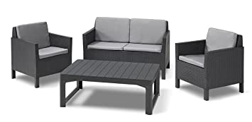 Allibert Chicago Lounge Set and Table Lyon 4-Piece Graphite ...