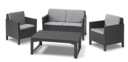 Allibert Lounge-Set Chicago und Tisch Lyon 4tlg, graphit/cool grey