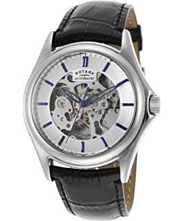 Rotary Mens Automatic Black Genuine Leather Skeletonized Silver-Tone Dial