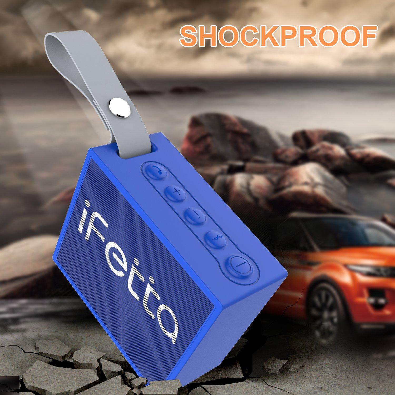 Ifecco Wireless Bluetooth V4.2 Lautsprecher tragbar wasserdicht Speakers mit eingebautem Mikrofon für iPhone, iPad, Samsung, Nexus und andere Android Geräte (Neu blau)