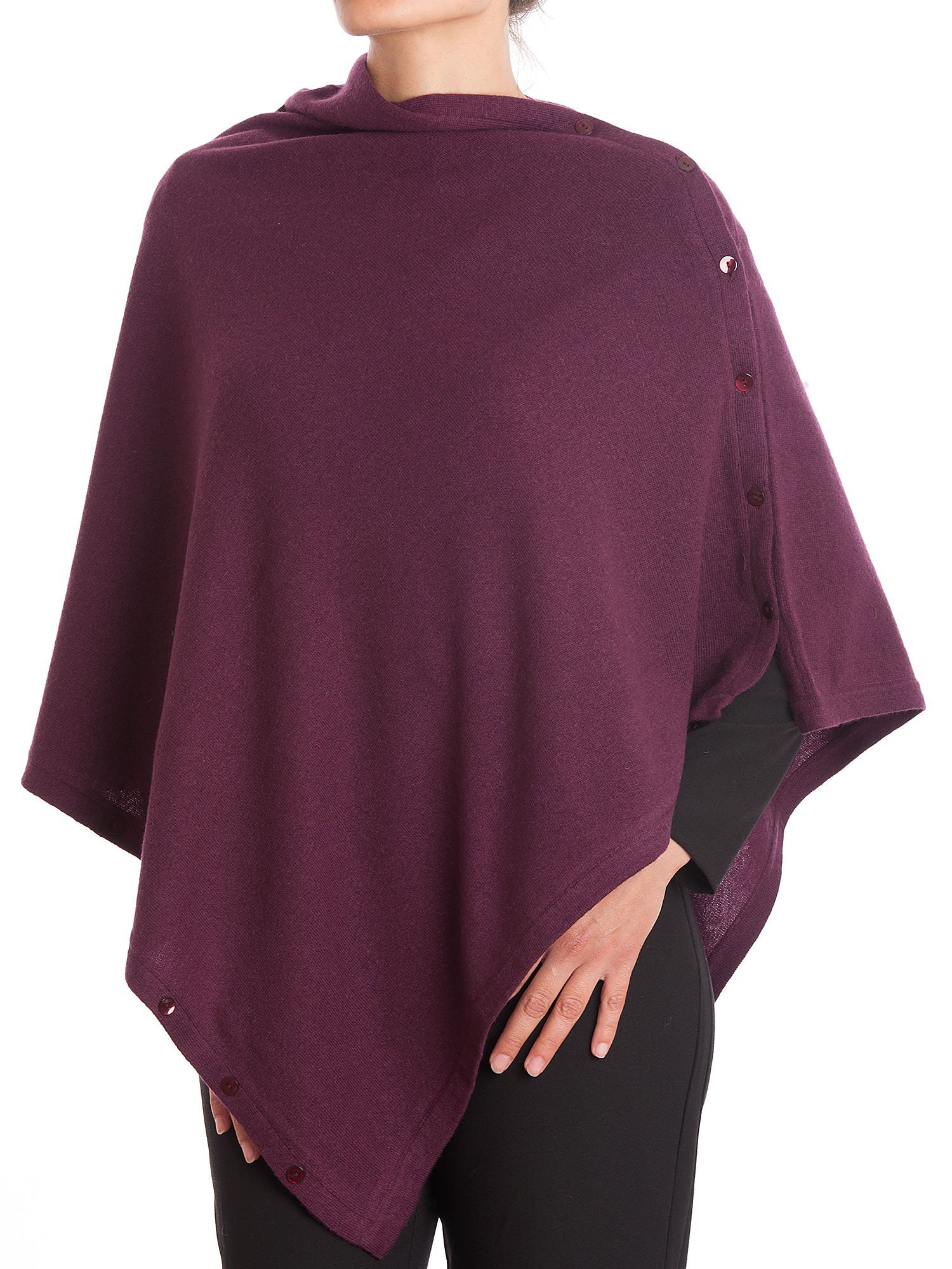 DALLE PIANE CASHMERE - Poncho with Buttons Cashmere Blended Yarns - Made in Italy, Color: Bordeaux, One Size