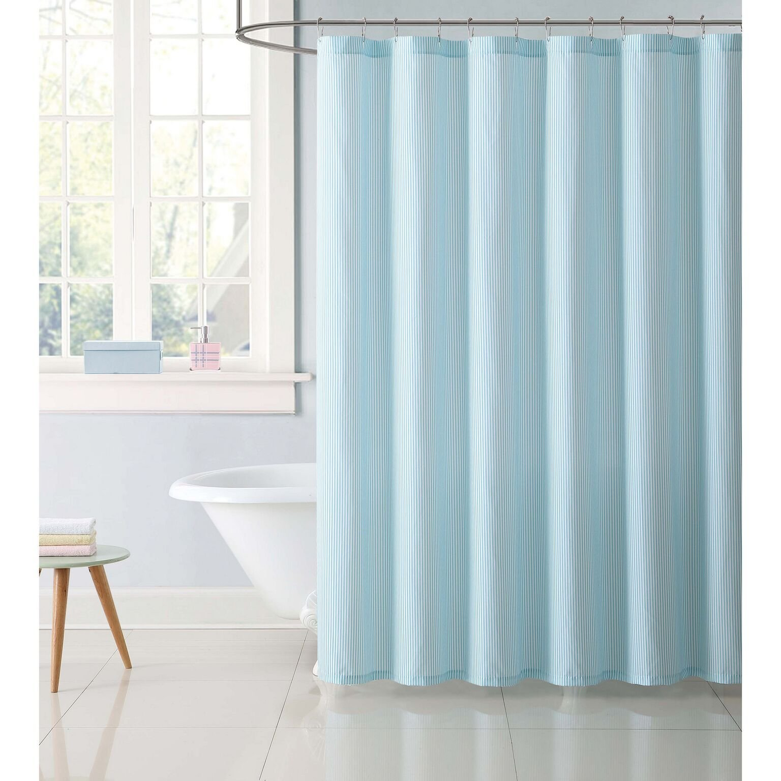 Truly Soft Aqua Stripes Shower Curtain, 72'' x 72''