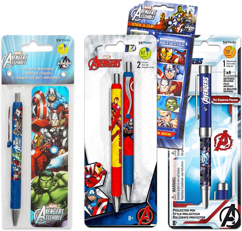 Marvel Avengers Pen Bundle Set ~ 3 Deluxe Ballpoint Gel Pens, Projector Pen, Bookmark, and over 100 Avengers Stickers (Avengers Office Supplies, School Supplies)