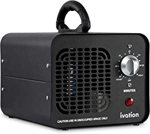 Ivation 10,000 MG/Hour Ozone Generator   Compact Ozone Machine for Large Rooms Up to 5,000 Square Feet   Powerful Long-Lasting Ceramic Plates, Programmable Timer, Washable Pre-Filter & Carry Handle