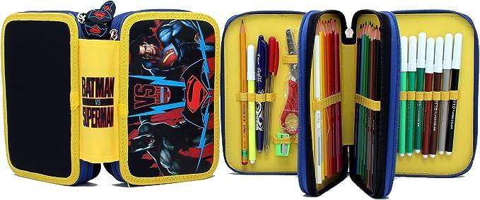 Estuche 3 compartimentos Batman vs Superman: Amazon.es: Oficina y papelería