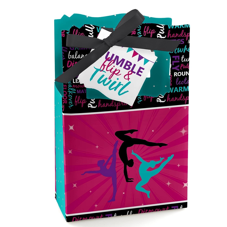 Tumble, Flip & Twirl - Gymnastics - Birthday Party or Gymnast Party Favor Boxes - Set of 12