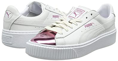 Amazon.com | PUMA Womens Basket Platform Metallic Trainers, White (White-Lilac Snow 04), 4.5 UK | Fashion Sneakers