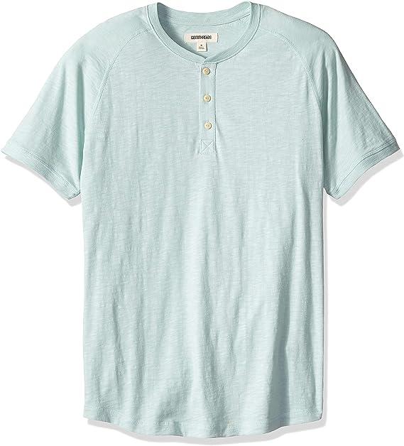 Marca Amazon - Goodthreads – Camiseta estilo Henley de algodón flameado de manga corta, ligera para hombre