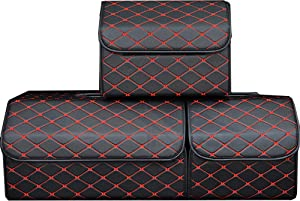 PME Car Truck Organizer with Cover/Single Plastic Handle, Heavy Duty PU Leather Portable Cargo Storage Box Seat Back Container Foldable Auto Car Backseat Organizer Black - Size M