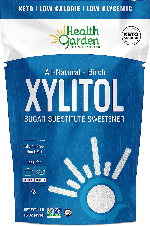 Health Garden Birch Xylitol Sweetener - Non GMO - Kosher - Made in the U.S.A. - Keto Friendly (1 LB x 2)