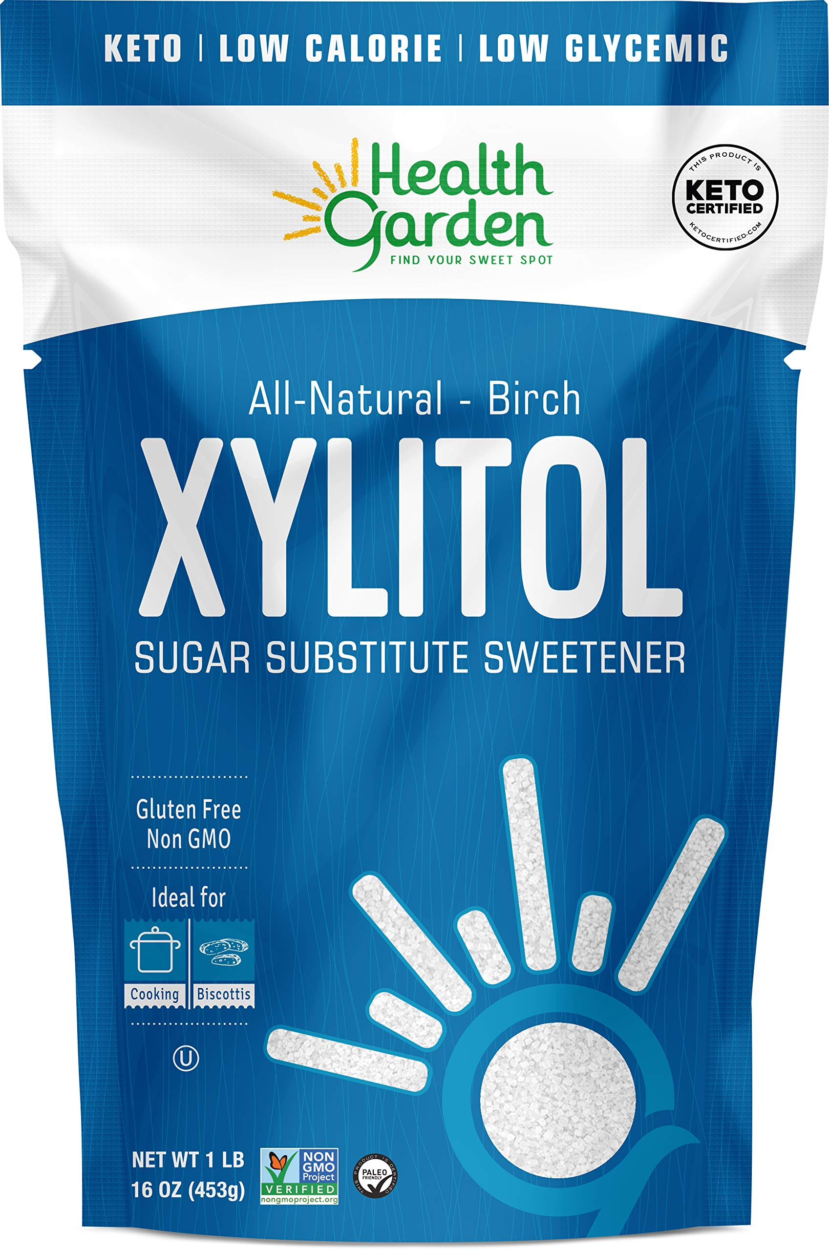 Health Garden Birch Xylitol Sweetener - Non GMO - Kosher - Made in the U.S.A. - Keto Friendly (1 lb)