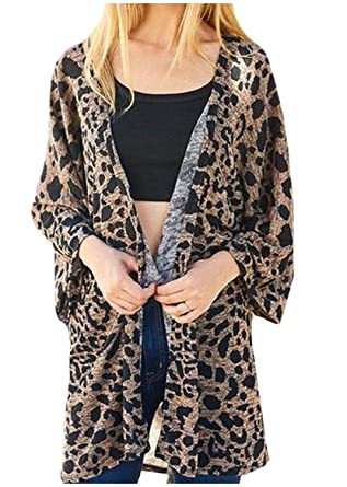 Womens 3/4 Sleeve Leopard Print Cardigan at Amazon Women's ...