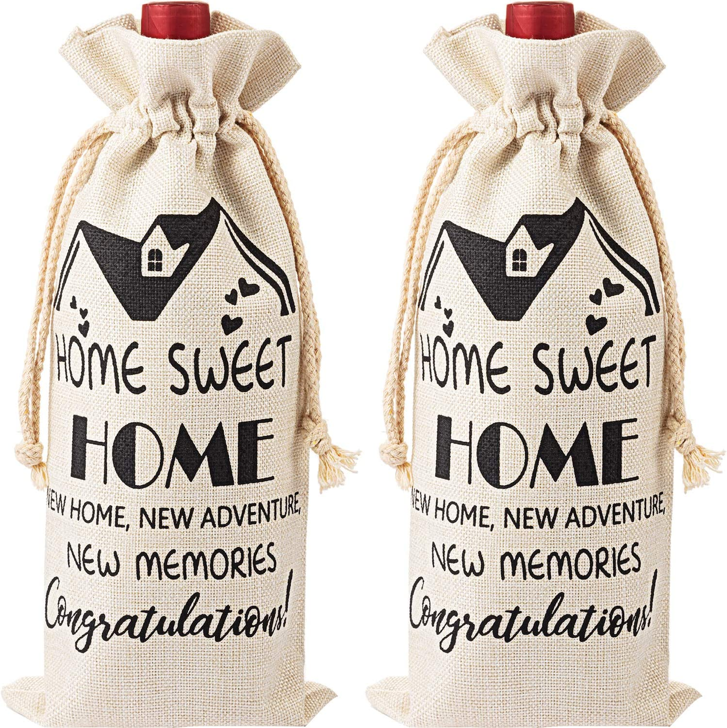 2 Pieces Housewarming Wine Bag Housewarming Presents for New Home, First Time House Owner Present Ideas for Men and Women, House Warming Decoration Congrats Presents for Him, Her, Couple