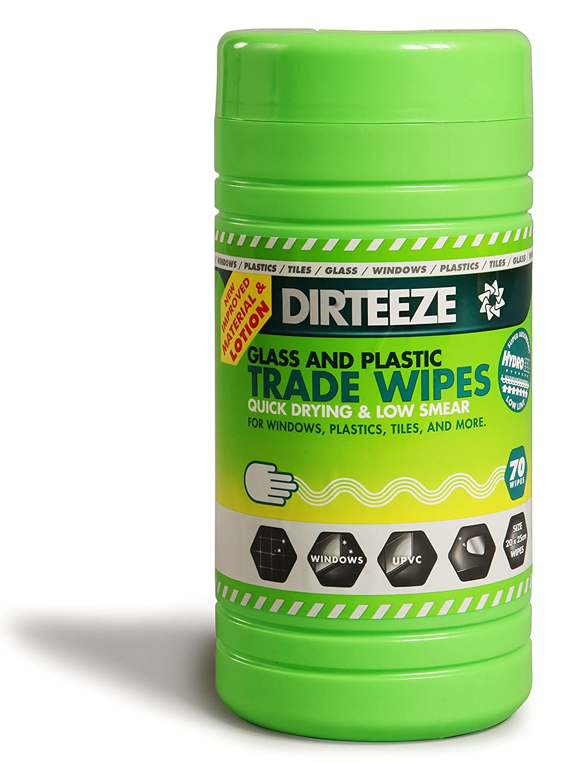 Professional WINDOW, MIRROR, GLASS, TILE & PLASTIC Cleaning Wipes by DIRTEEZE, BRAND NEW Intelligent Cleaning Formula - No marks, Streak-Free, Quick Drying - 80 wipes tub GDCL80